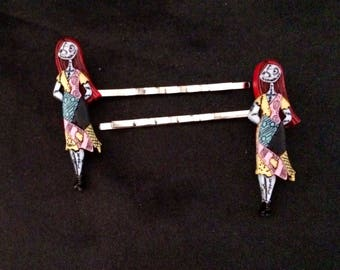 Set Of 2 Metal Hair Pins Featuring Sally From The Nightmare Before Christmas