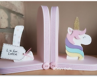 Personalised Unicorn Bookends for children. Nursery Decor. Set of 2 bookends, one with a personalised letter, one with a unicorn.