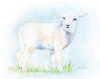 Lamb Watercolor Painting - 10 x 8 - Giclee Print Fine Art Nursery Print 8.5 x 11