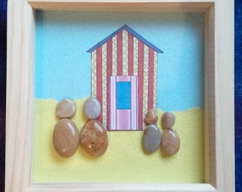 Beach hut Pebble Picture / pebble art - gift - Family - Holiday - polished pebble - Sea Side - beach hut - sand - sea