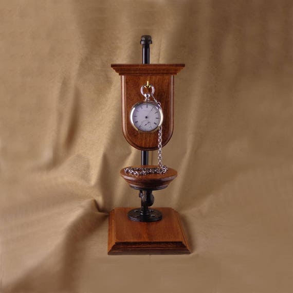 Steampunk Pocket Watch Display, stand for antique pocket watch or modern, black pipe and wood pocket watch stand, Victorian stand