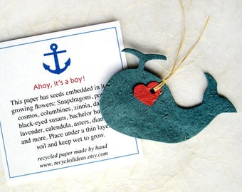15 Flower Seed Whales - Ahoy It's a Boy Baby Shower Favors - Nautical Anchor Cards - Whale Baby Shower Favors - Navy Blue and Red Seed Paper