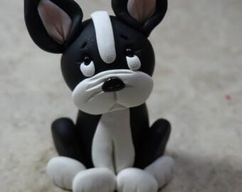 Boston Terrier Dog Clay Figurine