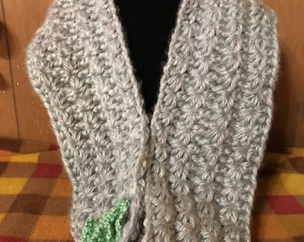Crocheted Cowl Handmade - Mint green and gray with Green flower