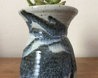 SALE!!! Blue swirled ceramic vase