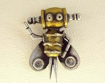 Buzzbee the Robot Bee Mark II Wood Pendant Ornament Dangle