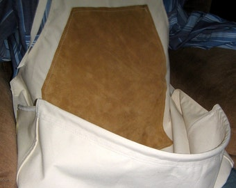 Woodcarvers Pouch/Leather Combo. Made from Sunforger CanvaS. This is our best selling apron, just sit back in your comfy chair and CARVE.