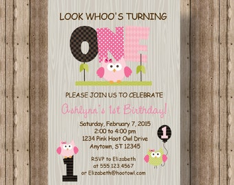OWL FIRST BIRTHDAY Invitation for Girls / Pink Owl 1st Birthday Invitation / Cute Wood Owl Printable Invitation / Woodland Girl Invitation