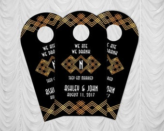 Gatsby Wedding Door Hangers - Art Deco Wedding Hotel Door Hangers - Hotel Box Wedding Favor - Destination Wedding Favor - Do Not Disturb