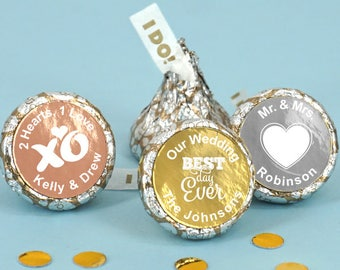 Foil Wedding Favors Chocolate, Personalized Foil Hershey's I DO Plume Kisses, Metallic Foil Chocolate I DO Kisses - Set of 100
