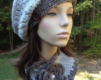 Slouchy Beret with Side Button in Taupe Print