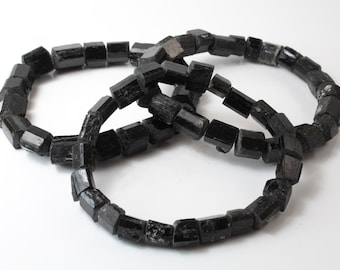 Black Tourmaline Beads, Natural Crystal Shapes, C-443