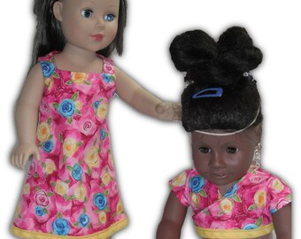 "Shrug Blue Yellow Flowers Square neck & Sleeveless Knee Length Dress 18"" Doll 2-piece Outfit"