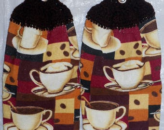 Set of Two  Coffee Cup Variety Kitchen Towels