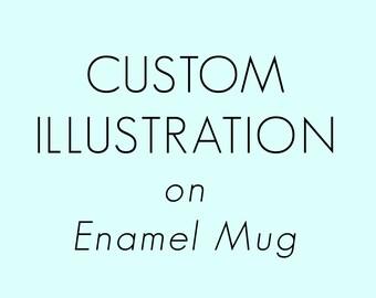 Custom Illustration - Enamel Mug - illustrated Mug - camp mugs - Retro Picnic - Travel Mug - Coffee - Tea