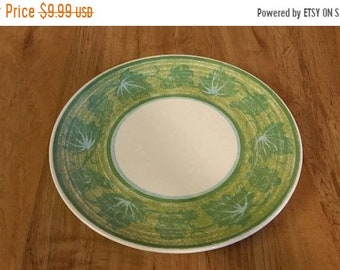On Sale Avocado Green and Green Leaf with Turquoise Blue  Royal China  Cavalier Ironstone 10 inch Dinner/Chop Plate Vintage Kitchen