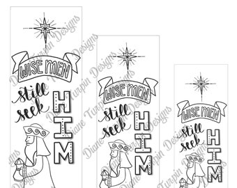 Bible Journaling Verse Art - Margin Art - Bookmark featuring Wise Men Still Seek Him
