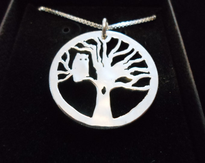 Owl in tree half dollar size w/sterling silver chain