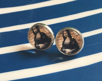 Mona Lisa glass cabochon earrings - 16mm