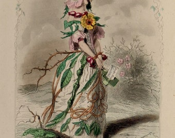 "Antique print.1847.""Animated Flowers""Sweetbriar rose"".Grandville.Botany.Characters.Steel engraving colored.10.2x6.7"" or 26x17cm."