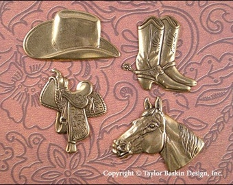 Antiqued Polished Brass Western Charms - set of 4 pieces