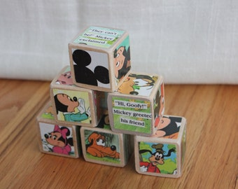 6 Vintage Mickey Mouse Wooden Blocks