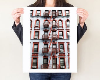 New York City architecture photography print, Manhattan wall art. NYC loft decor, SoHo fire escapes photo, orange urban decor, city artwork