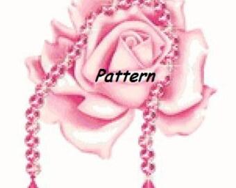 Pink rose. Cross Stitch Pattern. PDF Files.