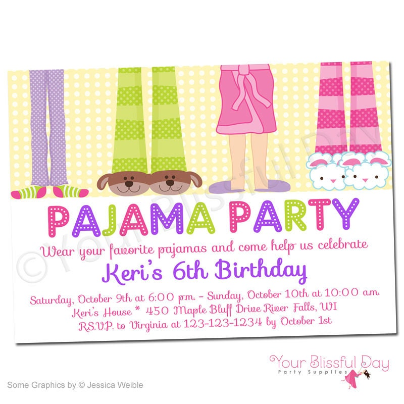 Girl Pajama Party Printable Invitations 563 Personalized