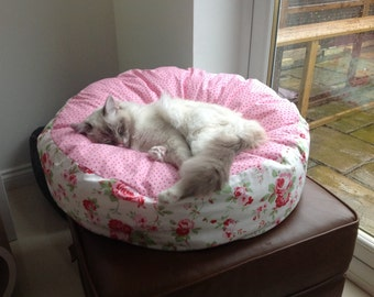 Rosali designed by Cath Kidston fabric, pet bed cat bed dog bed, luxury deep filled hand made