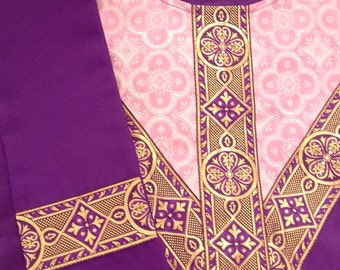 Dark Purple Neo-Gothic Chasuble & Stole Set. Embellished with Purple/Gold Galloon, Y-Cross front and Back, Rose Brocade feature.