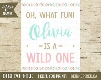 Wild One Birthday Sign, Oh What Fun Sign, Wild One Party, Tribal Party Sign, Tribal Party Decor, Tribal Birthday, OLIVIA, DIGITAL FILE