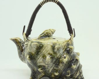 Seashell; Tea for One; Ceramic Teapot; Approx; 4 x 6 inches; Japan; Salt Glaze !!!