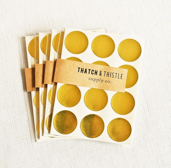 New 48 Metallic Gold Circle Stickers 1 Inch Envelope Seals Foil HB57