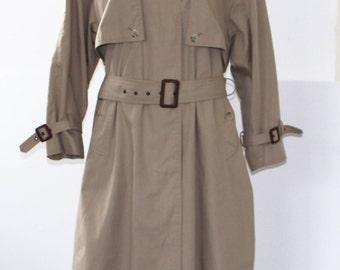 Vintage C&A Long Trench Coat Beige Khaki Color Size 19