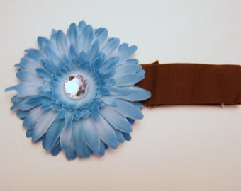 Blue Flower Bow and Headband Set