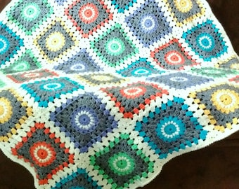 Hand crafted, colorful, soft, crocheted, large, baby blanket