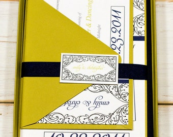 Doodle Frame Whimsical Navy and Chartreuse Green  Wedding Invitation Suite by Lemon Square Designs