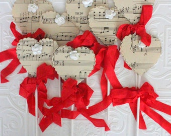 Musical Paper Hearts & Flowers Party Picks - Vintage Sheet Music Cupcake Toppers - Set of Eight {8} - Handmade by Suzanne MacCrone Rogers