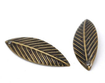 set of 20 charms leaves bronze 21 X 7 mm