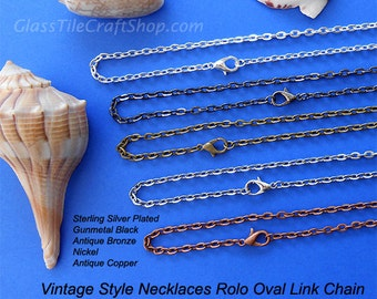 20 Rolo Chain - 24 Inch, 3x4mm Links, Oval Necklaces, Silver, Antique Bronze, Antique Copper, Nickel, Gunmetal Black. (MIXRCN24)