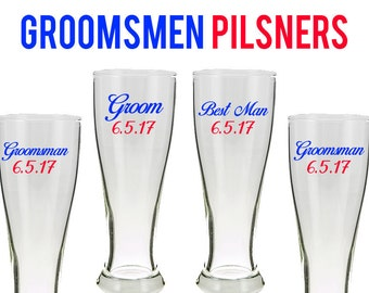 Best Man Pilsners,Groomsmen Pilsner,Best Man Gift,Groomsmen Gift,Best Man beer glass, Groomsmen set, Wedding Party Glasses, Pilsner Glass