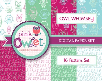 Owl Whimsey Set of 16 Digital Papers