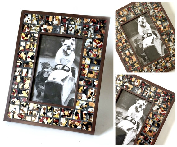 Brown Black Silver Mosaic Photo Frame, Brown BlacSilver Mosaic Frame, 4 x 6 Photo Mosaic Frame, 4 x 6 Brown Black Print Mosaic Picture Frame