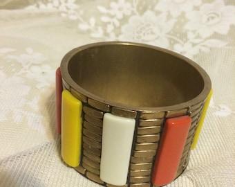 Chunky Brass Bangle with Plastic Inlay