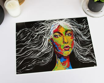 Illumination Within RMH ART print, 5x7, A4, A3, woman portrait, woman face, colourful art, gift for her, psychedelic, home decor, girl power