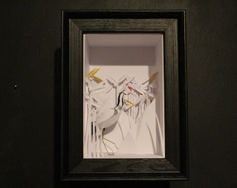The Elegant Wanderer. Framed Paper Cut Crane Sculpture.