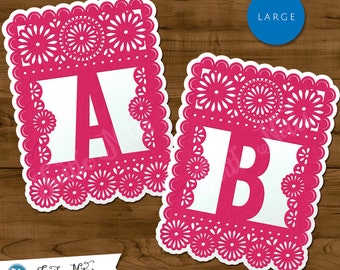 Large Pink & White Papel Picado  :  Printable Banner All Letters 0-9 numbers Bonus Extras