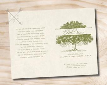 "Oak Tree, Tree of Life Funeral or Memorial Program - Bulletin - Order of Service, 8.5"" x 11"" or A4 - printable design file"