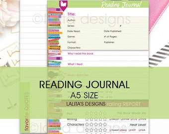 Filofax Kikki K Printable Reading Journal Insert A5 Half Letter Size